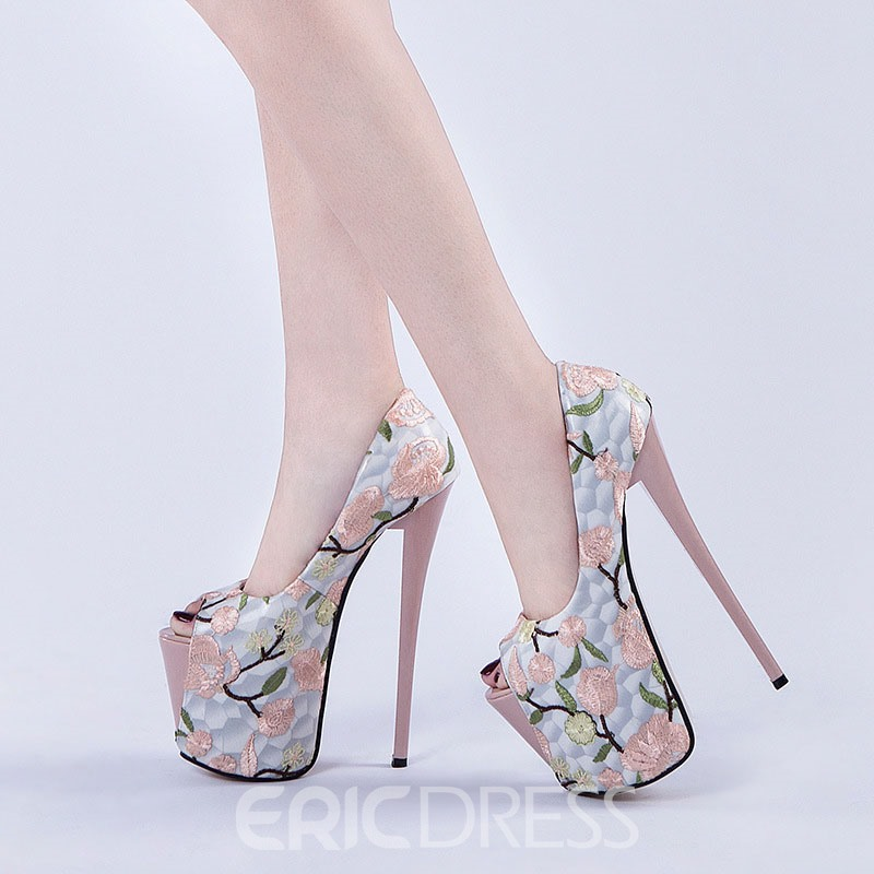 Ericdress Embroidery Stiletto Heel Peep Toe Women's Prom Shoes