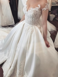 Ericdress Cap Sleeve Button Appliques Wedding Dress  - buy with discount