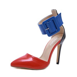 Ericdress Color Block Buckle Pointed Toe Stiletto Heel Women's Pumps