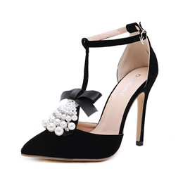 Ericdress Beads Pointed Toe Stiletto Heel Women's Sandals