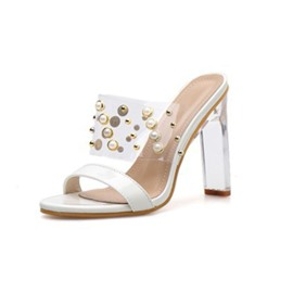 Ericdress PVC Beads Chunky Heel Slip-On Women's Mules Shoes