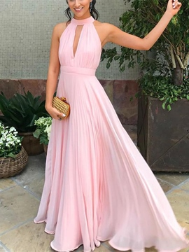 Ericdress Halter Hollow Pleats Long Bridesmaid Dress 2019