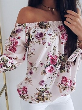 Ericdress Pleated Off Shoulder Floral Dashiki Blouse