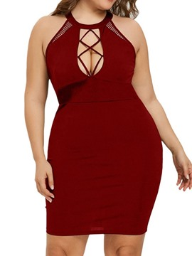 Ericdress Plus Size Plain Above Knee Hollow Hollow Backless Dress