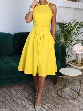 ericdress robe mi-mollet col rond sans manches taille douce
