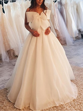 Ericdress Strapless Bowknot Hall Wedding Dress 2019
