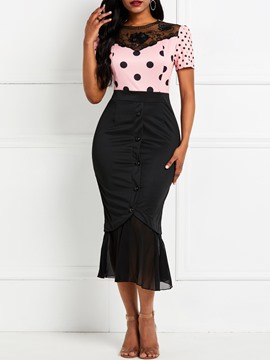 Ericdress Short Sleeve Polka Dots Button Color Block Mermaid Dress