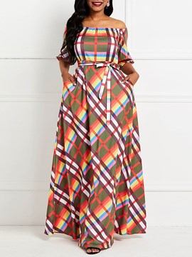 Ericdress Off Shoulder Half Sleeve Floor-Length Plaid A-Line Dress