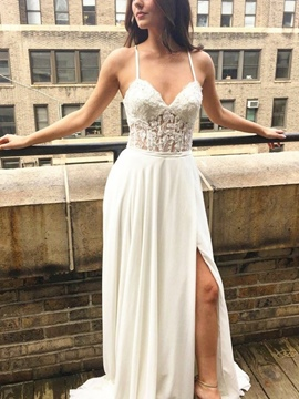 Ericdress Appliques Spaghetti Straps Beach Wedding Dress 2019