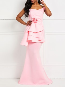Ericdress Floor-Length Pleated V-Neck Zipper Mermaid Dress