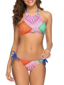Ericdress Color Block Print Lace-Up Swimsuit
