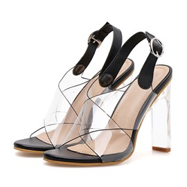 Ericdress Chunky Heel Open Toe Slingback Strap Low-Cut Upper Sandals