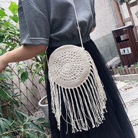Ericdress Knitted Grass Plain Circular Crossbody Bag