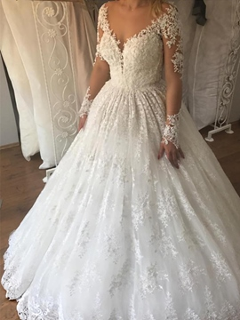 Ericdress Appliques Long Sleeves Lace Wedding Dress 2019