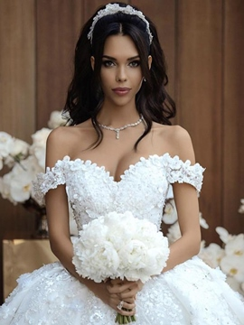 Ball Gown Cathedral Train Flowers Wedding Dress 2019