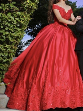 Ericdress Off-The-Shoulder Appliques Ball Gown Red Wedding Dress