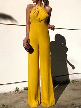 Ericdress Dressy Yellow Plain Slim Jumpsuit