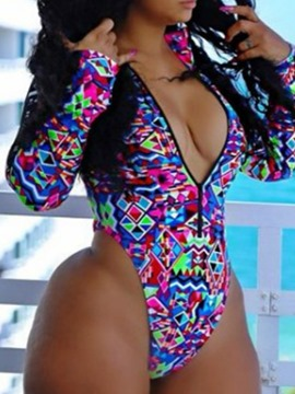 Ericdress Print Color Block Stretchy Sexy Swimwear
