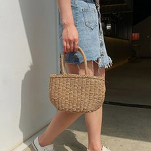 Ericdress Knitted Plain Grass Tote Bag