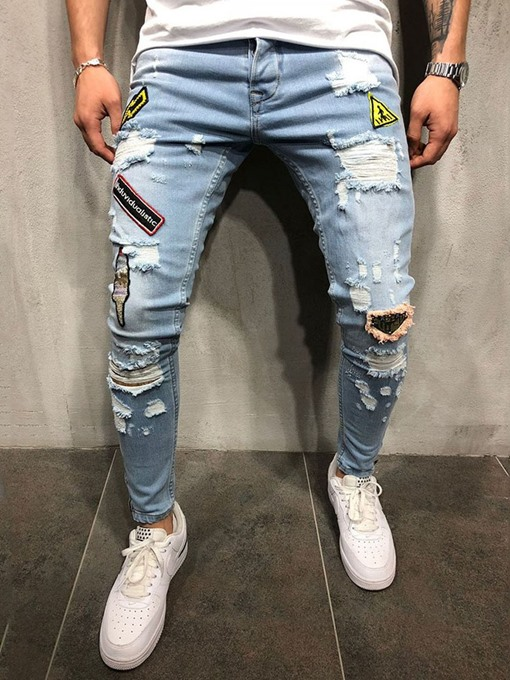 Ericdress Pocket Thin Letter Mid Waist Mens Zipper Jeans