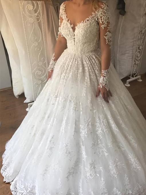 Ericdress Appliques Long Sleeves Lace Wedding Dress