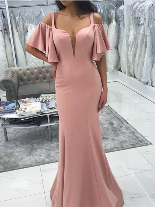 Ericdress Mermaid Straps Hollow Bridesmaid Dress 2019