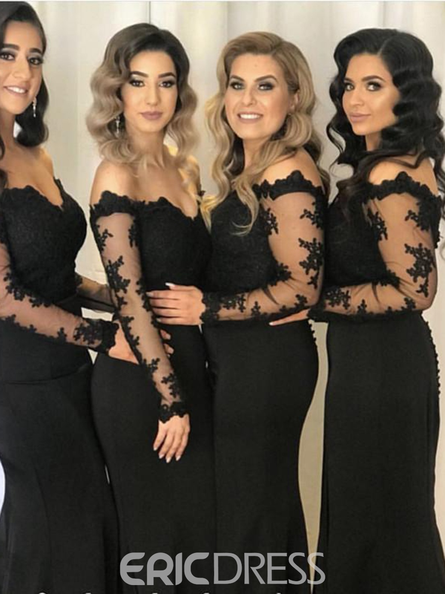 Ericdress Long Sleeves Appliques Off-The-Shoulder Bridesmaid Dress