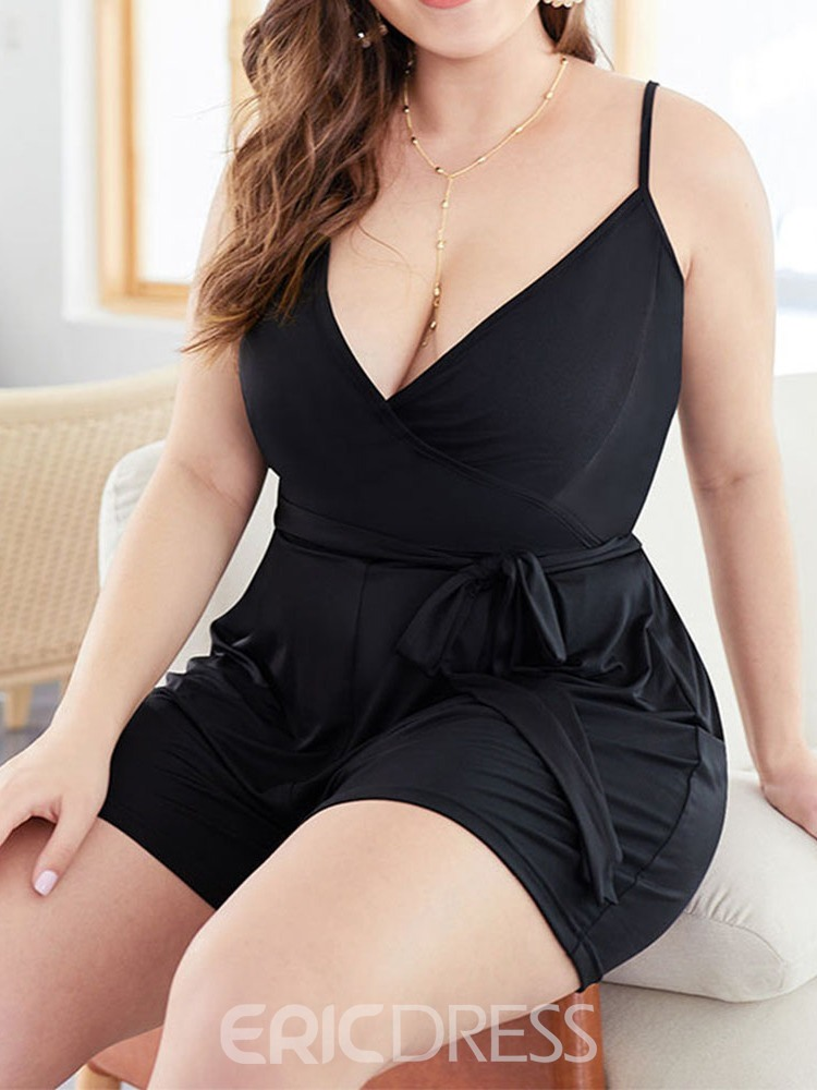 Ericdress Plus Size Strap Sexy Lace-Up Bowknot Slim Romper