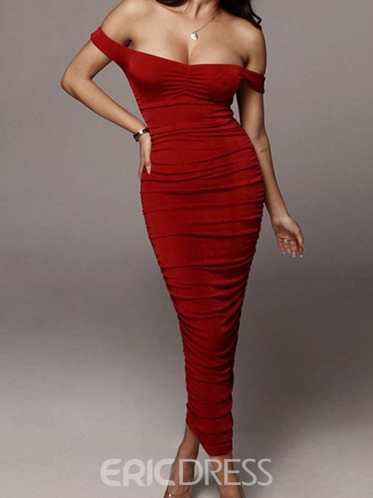 Ericdress Off Shoulder Pleated Pencil Party Mid Waist Dress