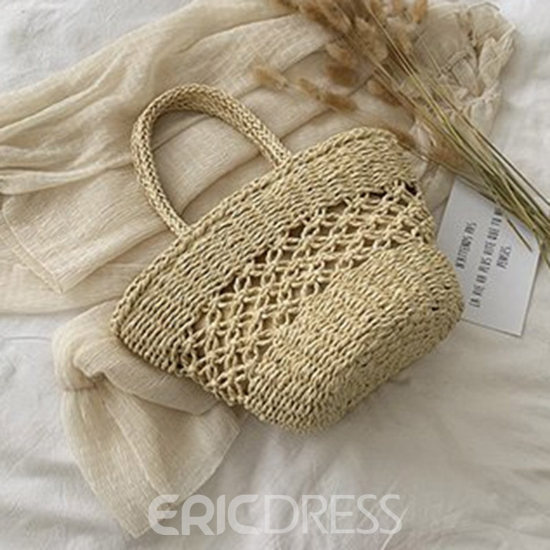 Ericdress Grass Hollow Plain Barrel-Shaped Tote Bag