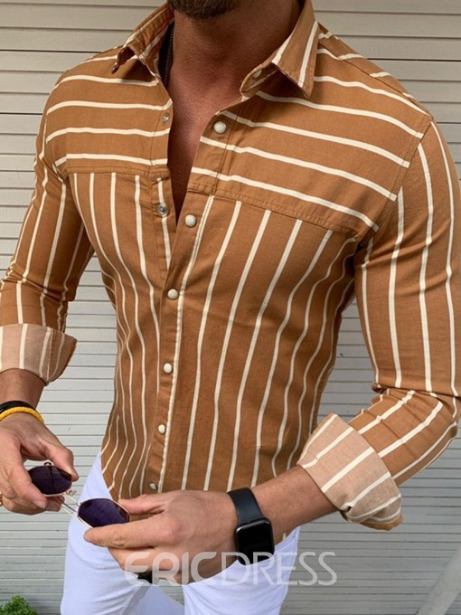 Ericdress Button Color Block Mens Single-Breasted Shirt