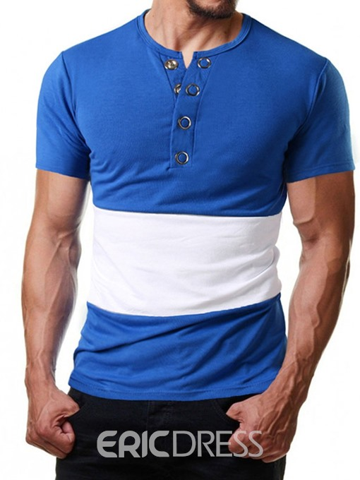 Ericdress Color Block Casual Round Neck Loose Mens T-shirt