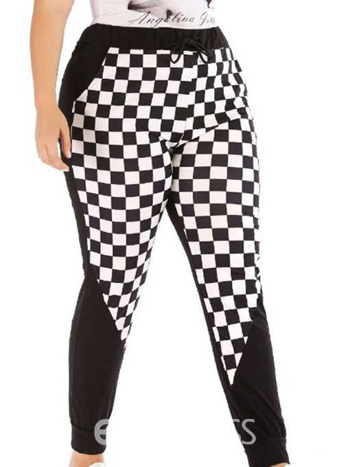 Ericdress Plus Size Color Block Pocket Skinny Plaid Casual Pants
