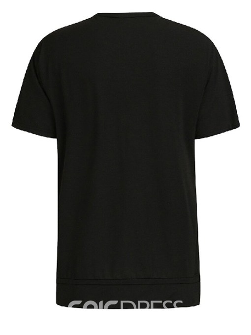 Ericdress Round Neck Casual Color Block Slim Mens T-shirt