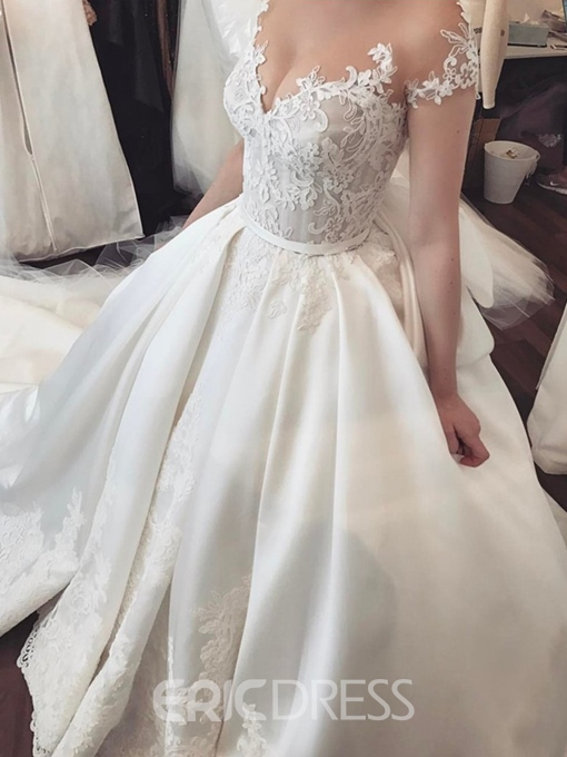 Ericdress Cap Sleeve Button Appliques Wedding Dress 2019