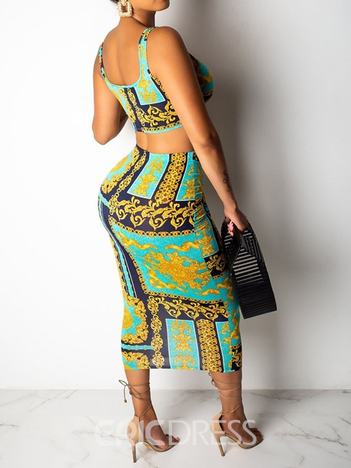 Ericdress Print African Style Skinny Color Block Bodycon Vest And Skirt Two Piece Sets
