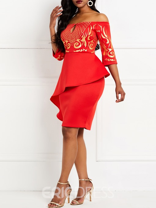 Ericdress Three-Quarter Sleeve Knee-Length Off Shoulder Bodycon Dress
