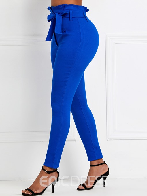 Ericdress Slim Belt Plain Casual Pencil Pants