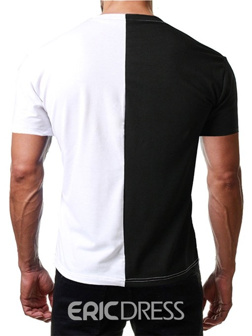 Ericdress Round Neck Color Block Mens Loose T-shirt