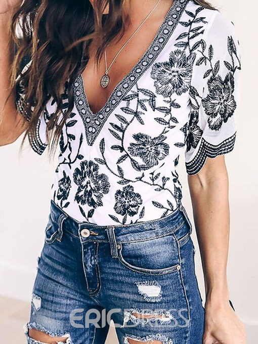 Ericdress V-Neck Color Block Floral Short Sleeve Blouse