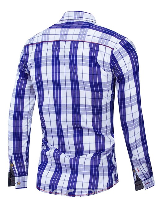 Ericdress Button Color Block Single-Breasted Mens Shirt