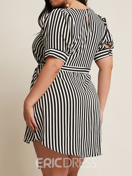 Ericdress Plus Size Simple Short Sleeve Round Neck Stripe Going Out Dress
