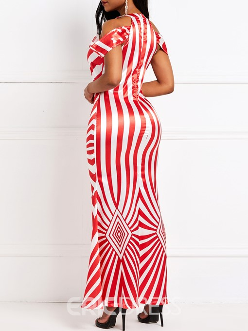 Ericdress Bodycon Striped Mermaid Floor-Length Sleeveless Round Neck Dress