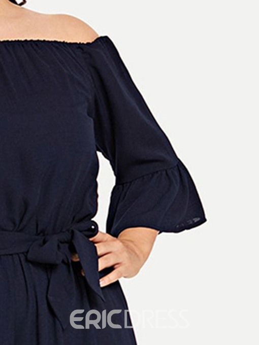 Ericdress Plus Size Off Shoulder Plain Bowknot Loose Wide Legs Jumpsuit