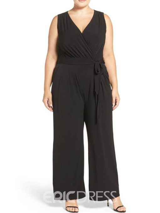 Ericdress Plus Size Belt Plain Mid Waist Wide Legs Jumpsuit