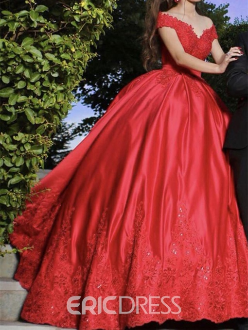 Ericdress Off-The-Shoulder Appliques Ball Gown Red Wedding Dress 2019