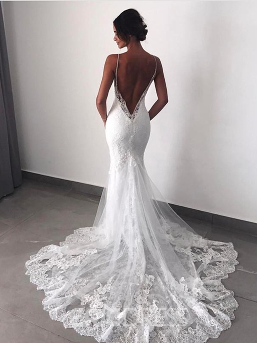 Ericdress Watteau Train Backless Appliques Mermaid Wedding Dress 2019