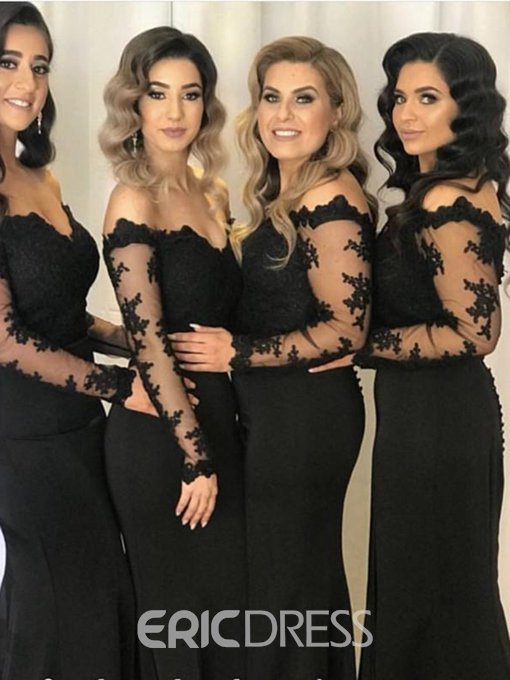 Ericdress Long Sleeves Appliques Off-The-Shoulder Bridesmaid Dress 2019