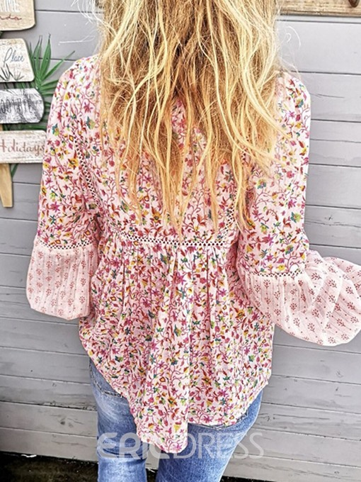 Ericdress Tassel Floral Flare Sleeve Blouse