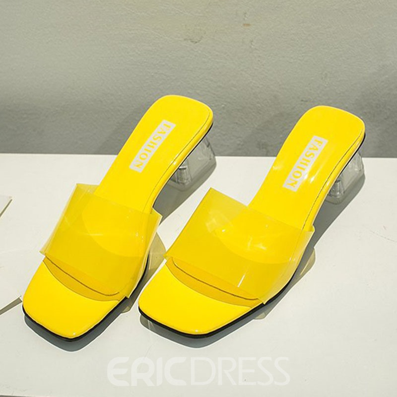 Ericdress PVC Candy Color Chunky Heel Women's Sandals
